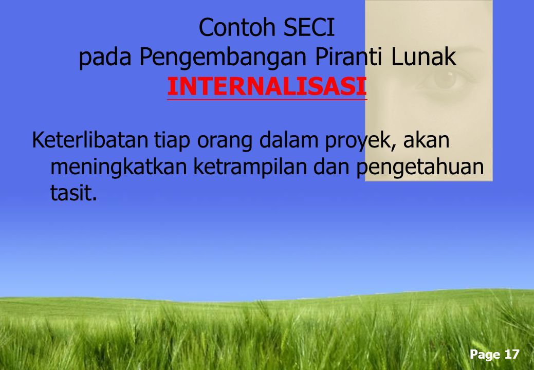 Contoh SECI pada Pengembangan Piranti Lunak INTERNALISASI