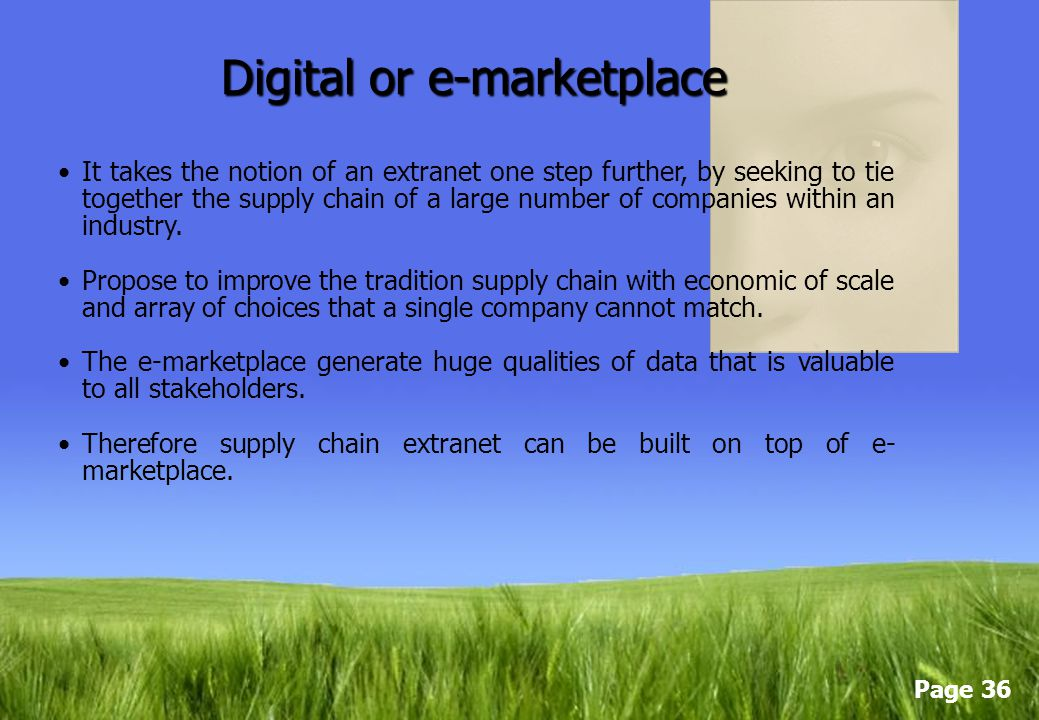 Digital or e-marketplace