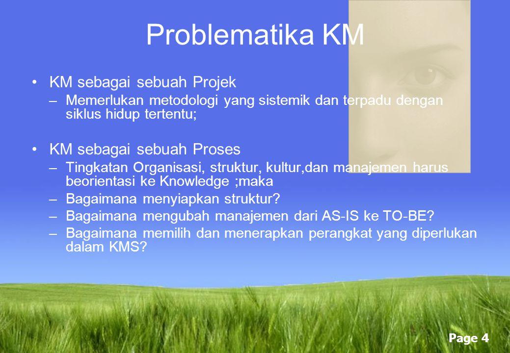 Problematika KM KM sebagai sebuah Projek KM sebagai sebuah Proses