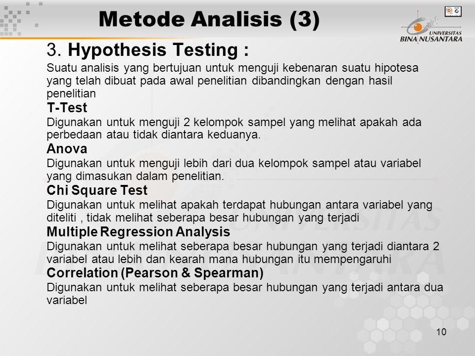 Metode Analisis (3) 3. Hypothesis Testing :