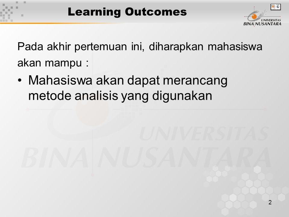 Mahasiswa akan dapat merancang metode analisis yang digunakan