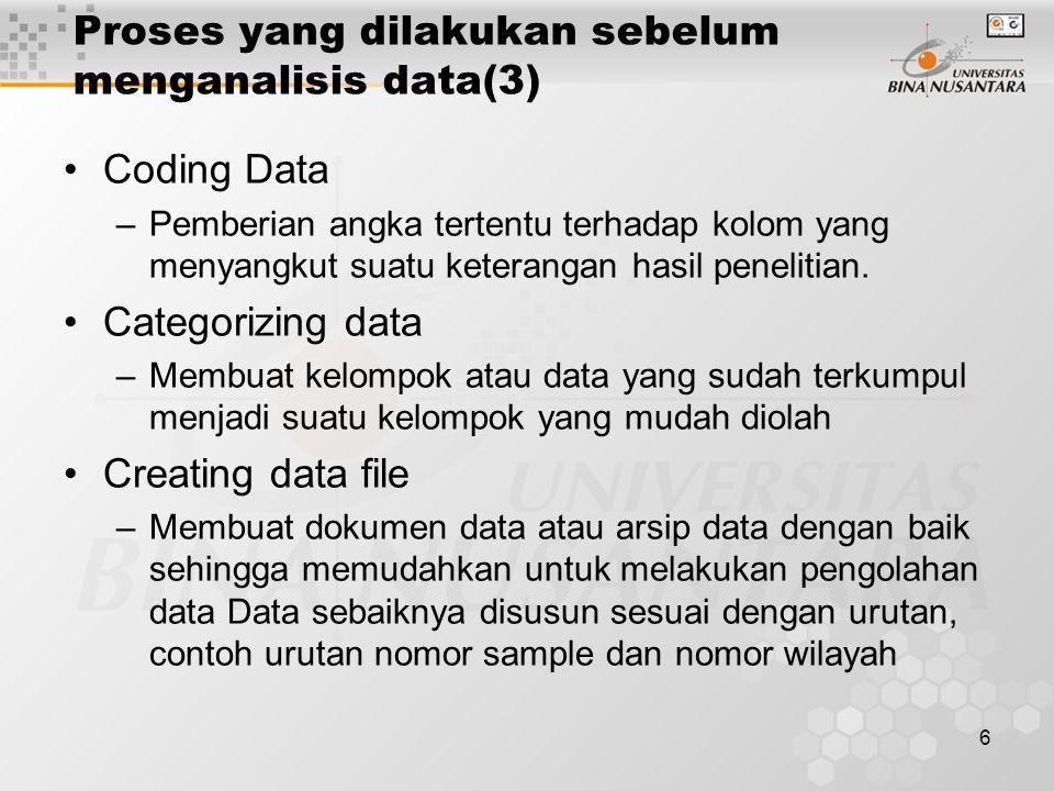 Proses yang dilakukan sebelum menganalisis data(3)