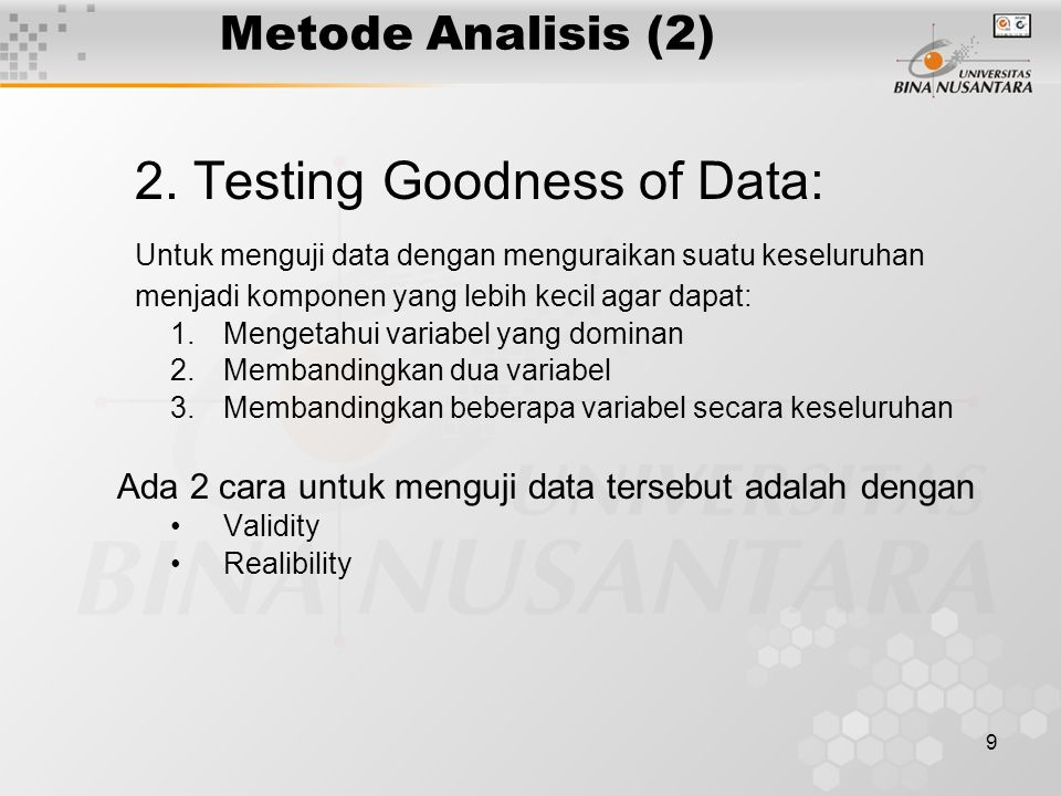 2. Testing Goodness of Data: