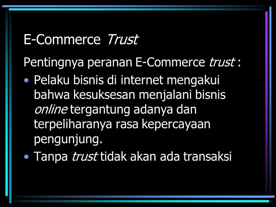 E-Commerce Trust Pentingnya peranan E-Commerce trust :