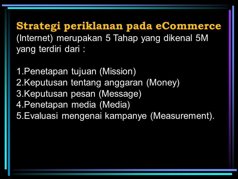 Strategi periklanan pada eCommerce (Internet) merupakan 5 Tahap yang dikenal 5M yang terdiri dari :