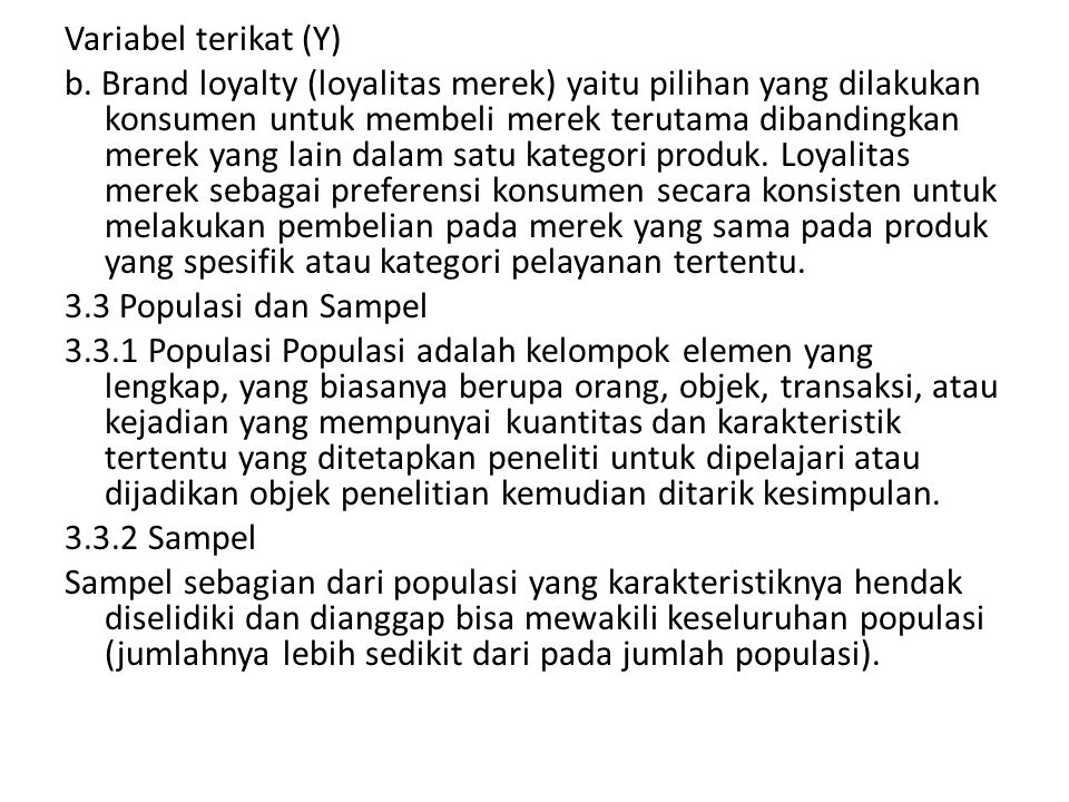 Variabel terikat (Y)