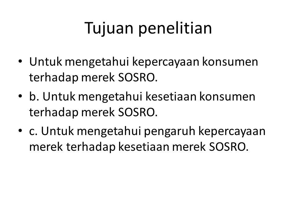 Tujuan penelitian Untuk mengetahui kepercayaan konsumen terhadap merek SOSRO. b. Untuk mengetahui kesetiaan konsumen terhadap merek SOSRO.