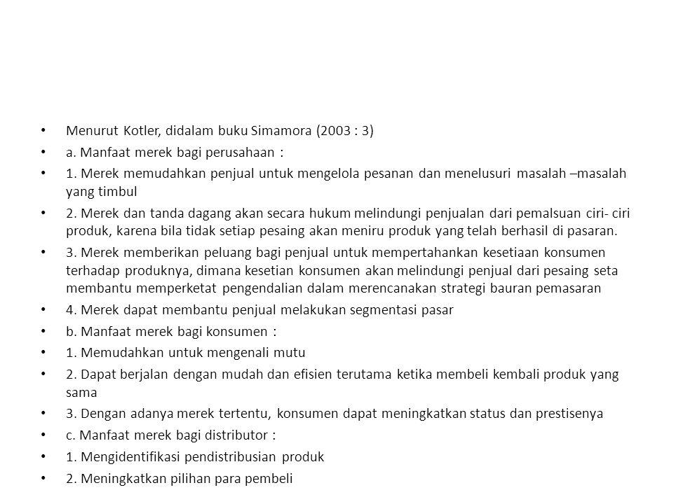 Menurut Kotler, didalam buku Simamora (2003 : 3)