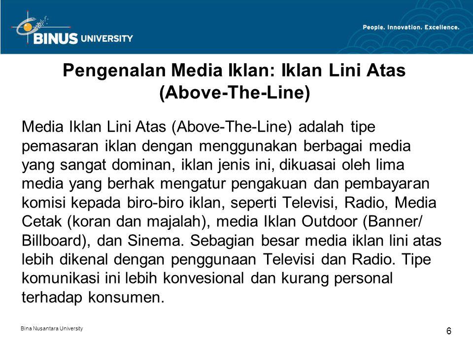 Pengenalan Media Iklan: Iklan Lini Atas (Above-The-Line)