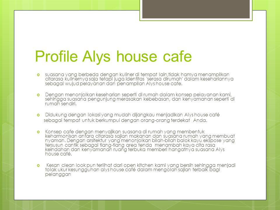 Profile Alys house cafe