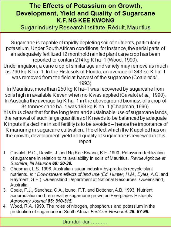 The Effects of Potassium on Growth,