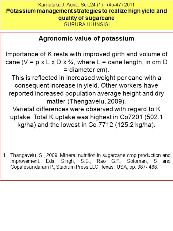 Agronomic value of potassium