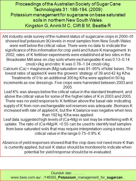 Potassium management for sugarcane on base saturated