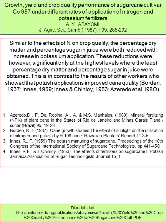 Growth, yield and crop quality performance of sugarcane cultivar Co 957 under different rates of application of nitrogen and potassium fertilizers
