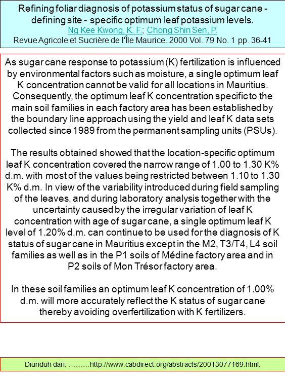 Refining foliar diagnosis of potassium status of sugar cane - defining site - specific optimum leaf potassium levels.