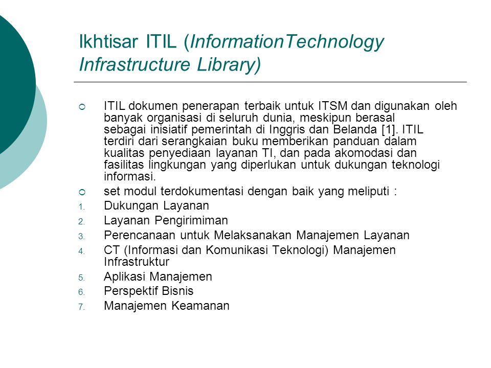 Ikhtisar ITIL (InformationTechnology Infrastructure Library)