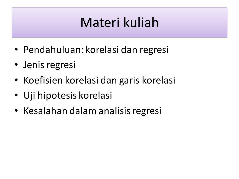 Materi kuliah Pendahuluan: korelasi dan regresi Jenis regresi