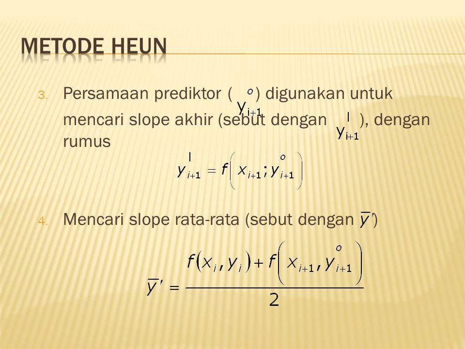 Metode Heun Persamaan prediktor ( ) digunakan untuk