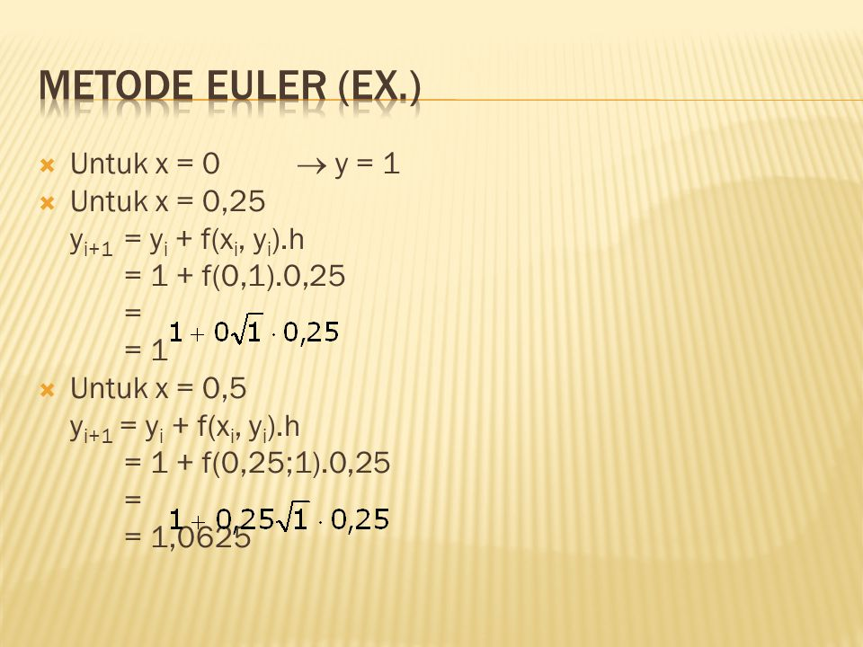 Metode Euler (Ex.) Untuk x = 0  y = 1 Untuk x = 0,25