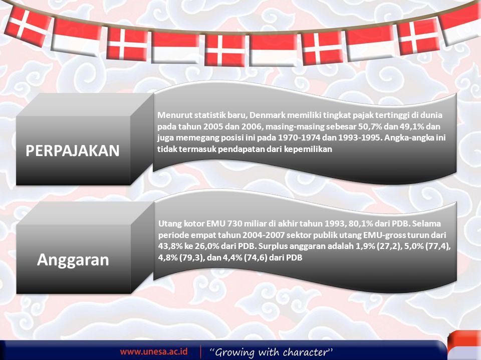 Menurut statistik baru, Denmark memiliki tingkat pajak tertinggi di dunia pada tahun 2005 dan 2006, masing-masing sebesar 50,7% dan 49,1% dan juga memegang posisi ini pada 1970-1974 dan 1993-1995. Angka-angka ini tidak termasuk pendapatan dari kepemilikan
