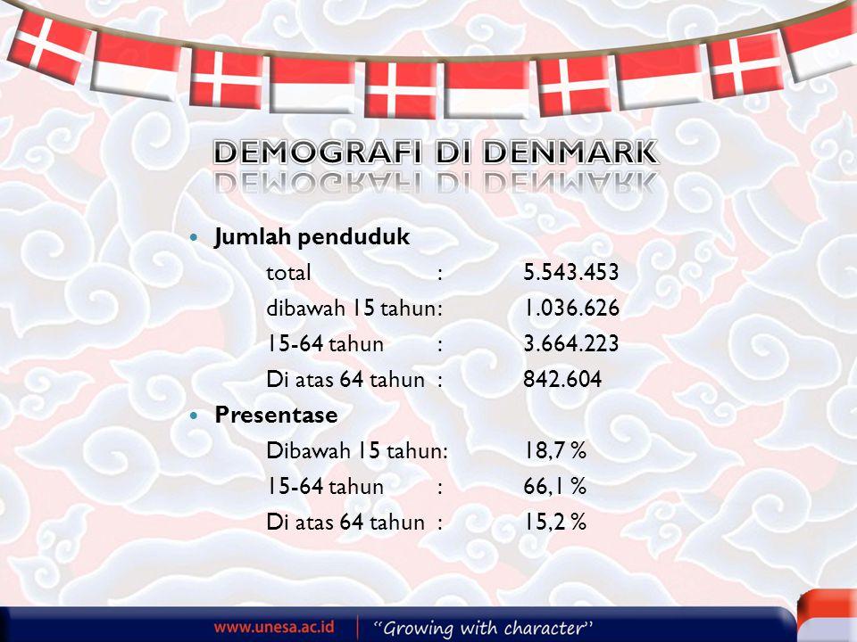 DEMOGRAFI DI DENMARK Jumlah penduduk total : 5.543.453
