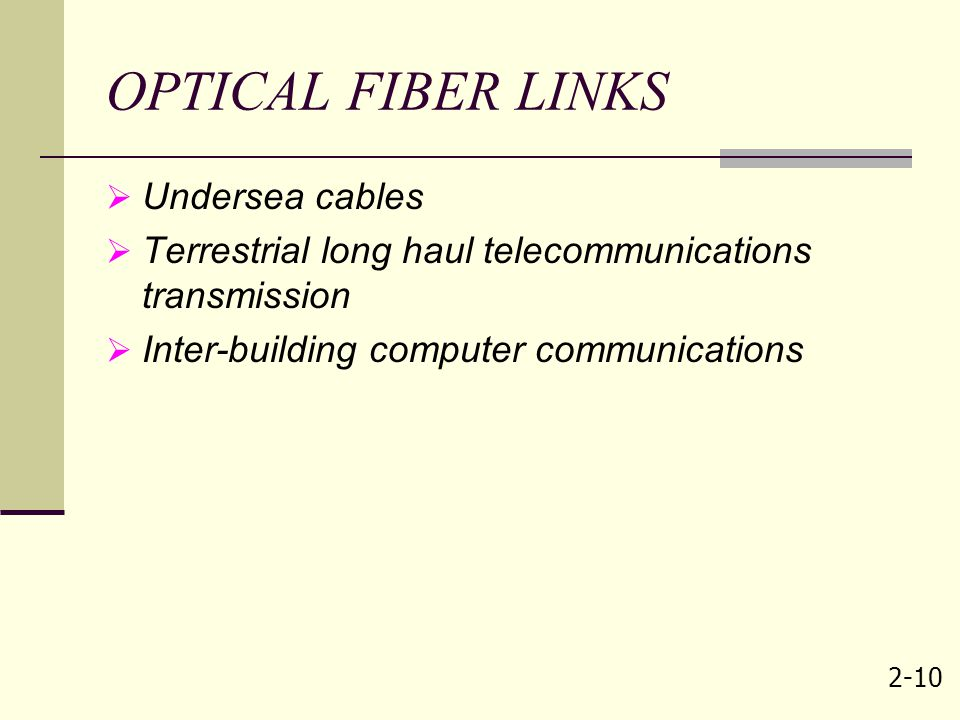 OPTICAL FIBER LINKS Undersea cables