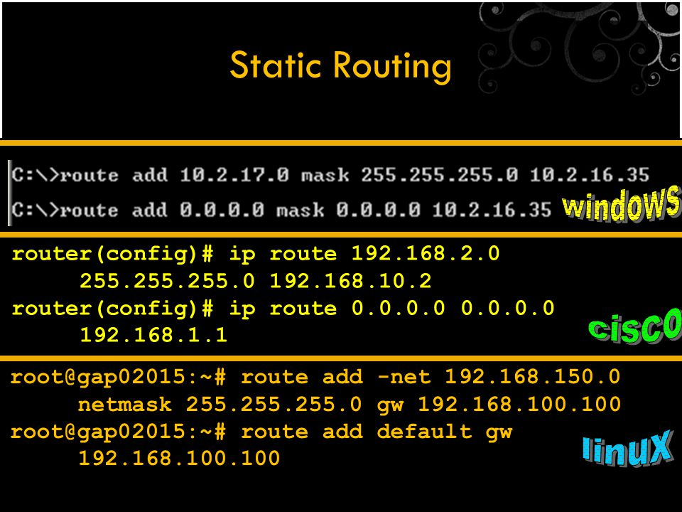 Static Routing windows cisco linux