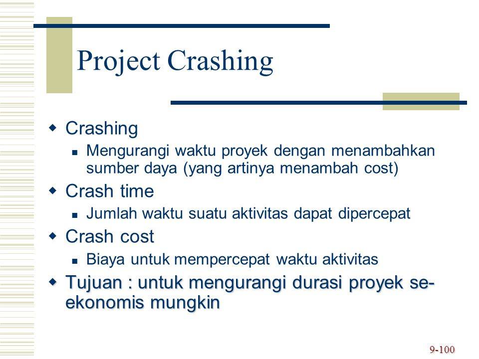 Project Crashing Crashing Crash time Crash cost