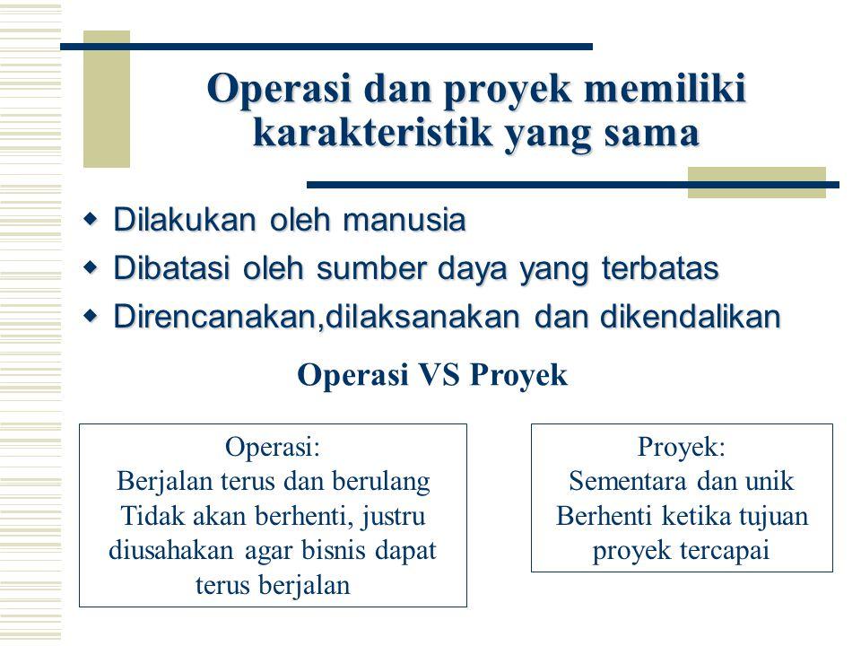 Operasi dan proyek memiliki karakteristik yang sama