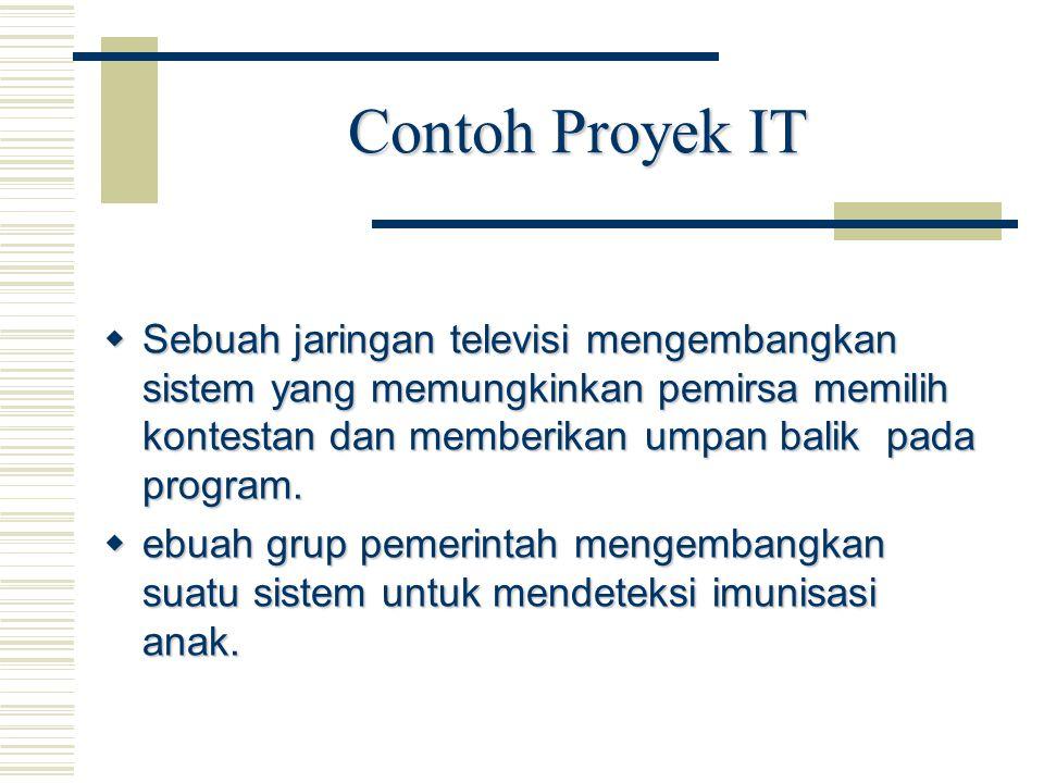 Contoh Proyek IT Sebuah jaringan televisi mengembangkan sistem yang memungkinkan pemirsa memilih kontestan dan memberikan umpan balik pada program.
