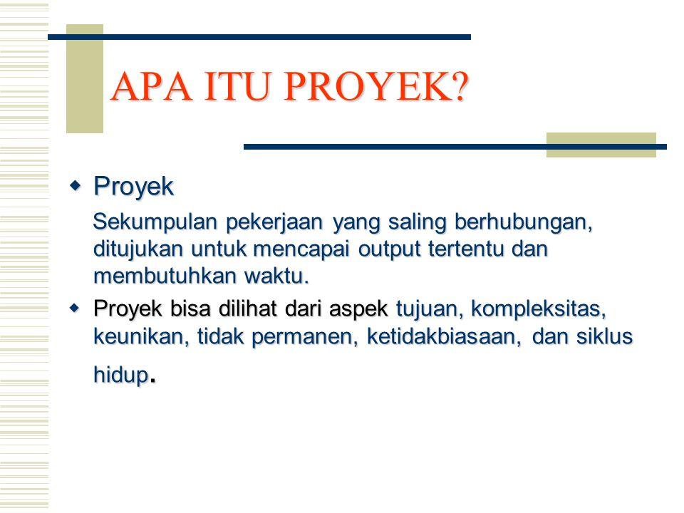APA ITU PROYEK Proyek. Sekumpulan pekerjaan yang saling berhubungan, ditujukan untuk mencapai output tertentu dan membutuhkan waktu.