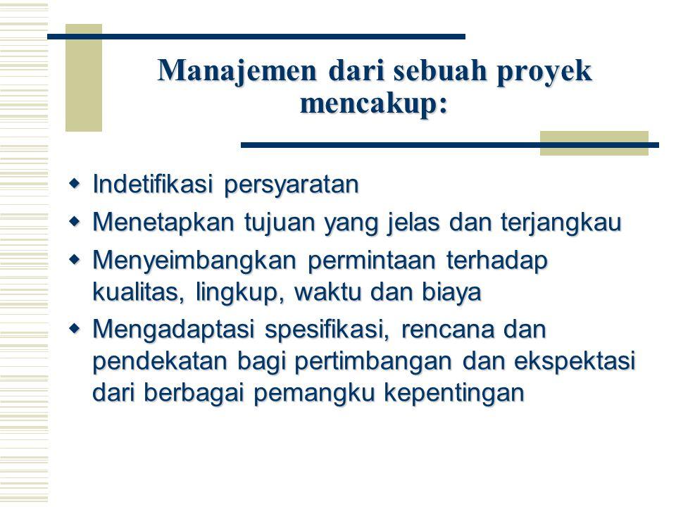 Manajemen dari sebuah proyek mencakup: