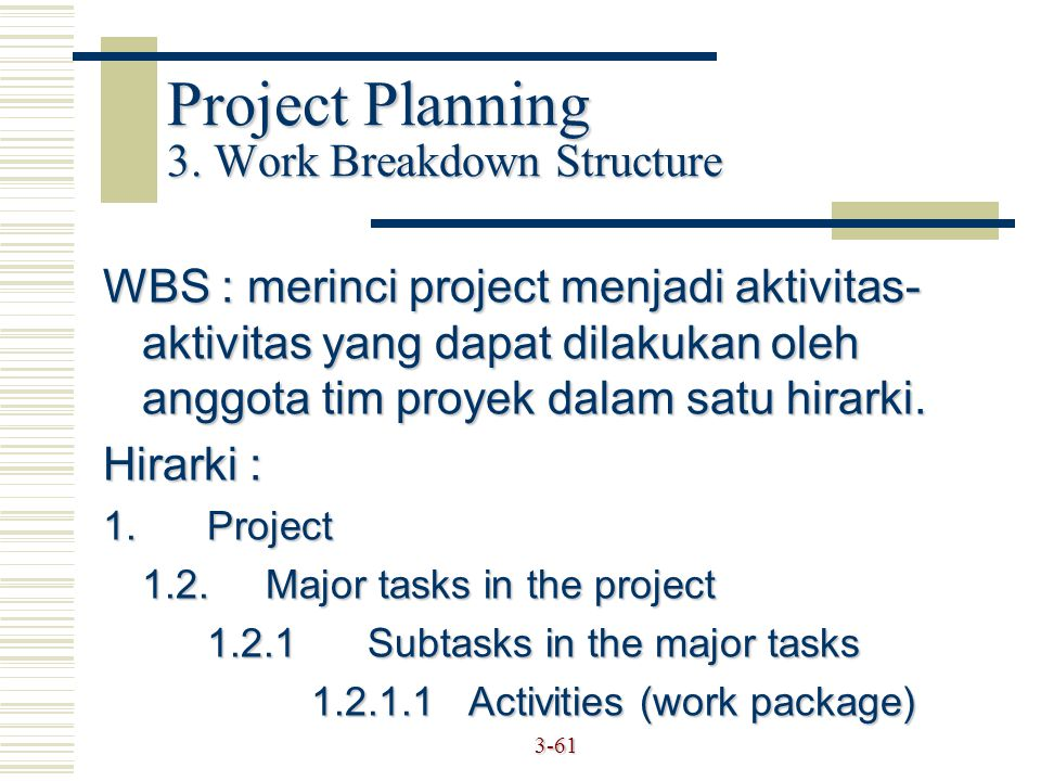 Project Planning 3. Work Breakdown Structure