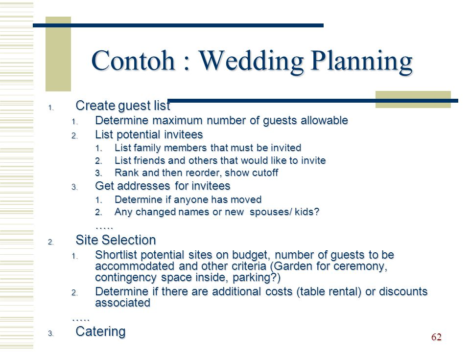 Contoh : Wedding Planning
