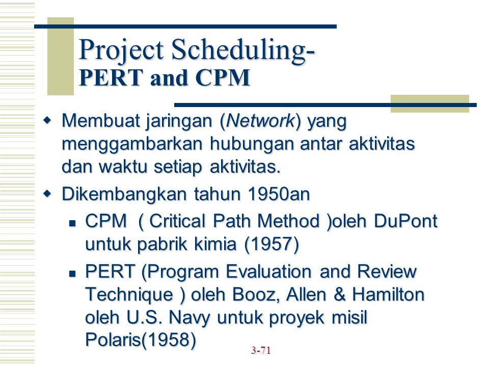 Project Scheduling- PERT and CPM