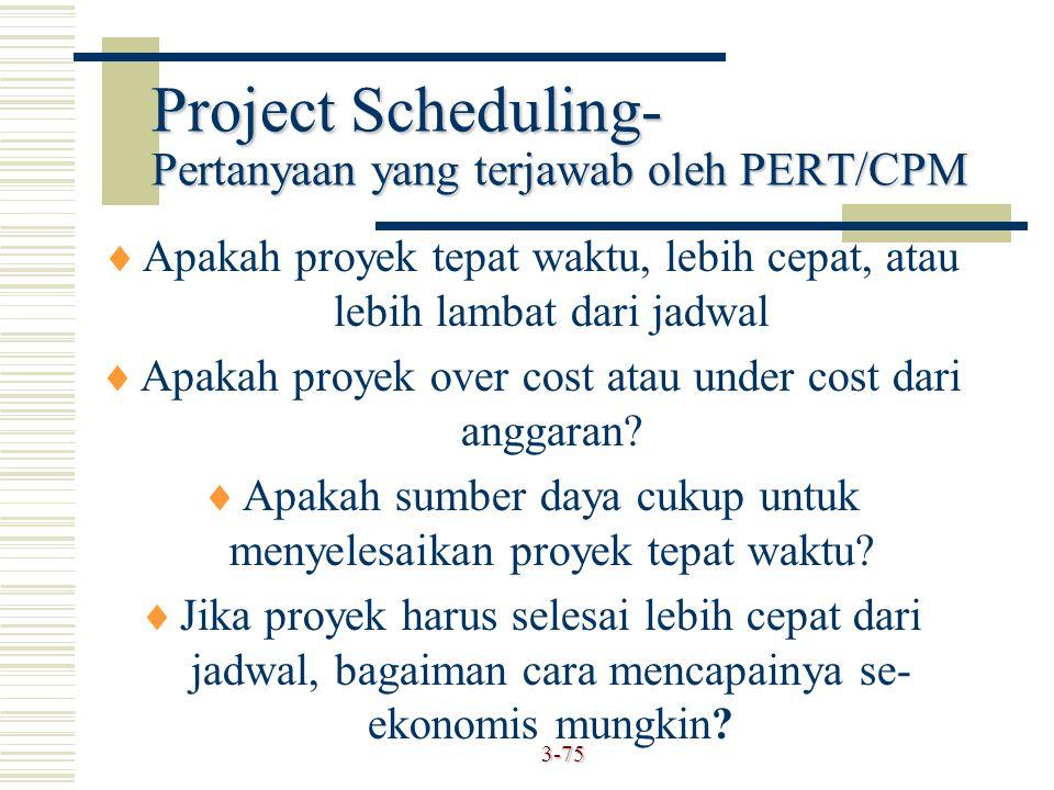 Project Scheduling- Pertanyaan yang terjawab oleh PERT/CPM