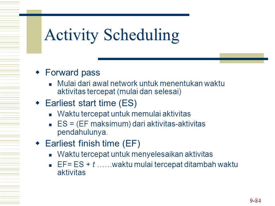 Activity Scheduling Forward pass Earliest start time (ES)