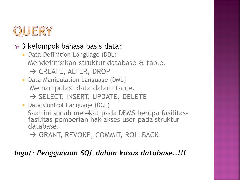 Query 3 kelompok bahasa basis data:  CREATE, ALTER, DROP