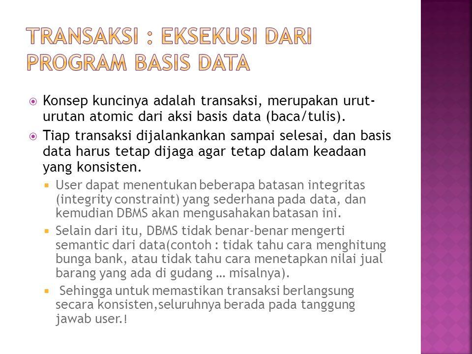 Transaksi : Eksekusi dari Program Basis Data
