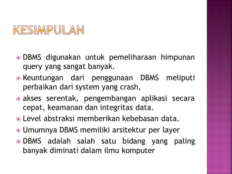 Kesimpulan DBMS digunakan untuk pemeliharaan himpunan query yang sangat banyak.