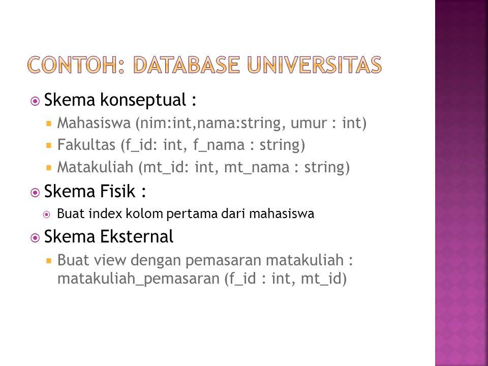 Contoh: Database universitas