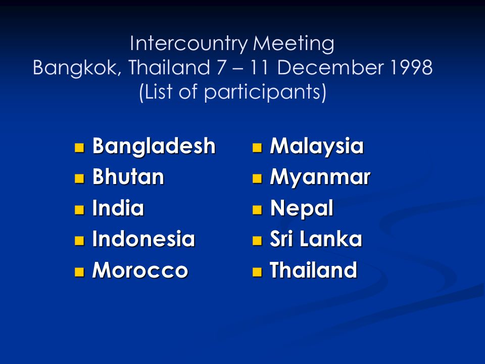 Bangladesh Bhutan India Indonesia Morocco Malaysia Myanmar Nepal