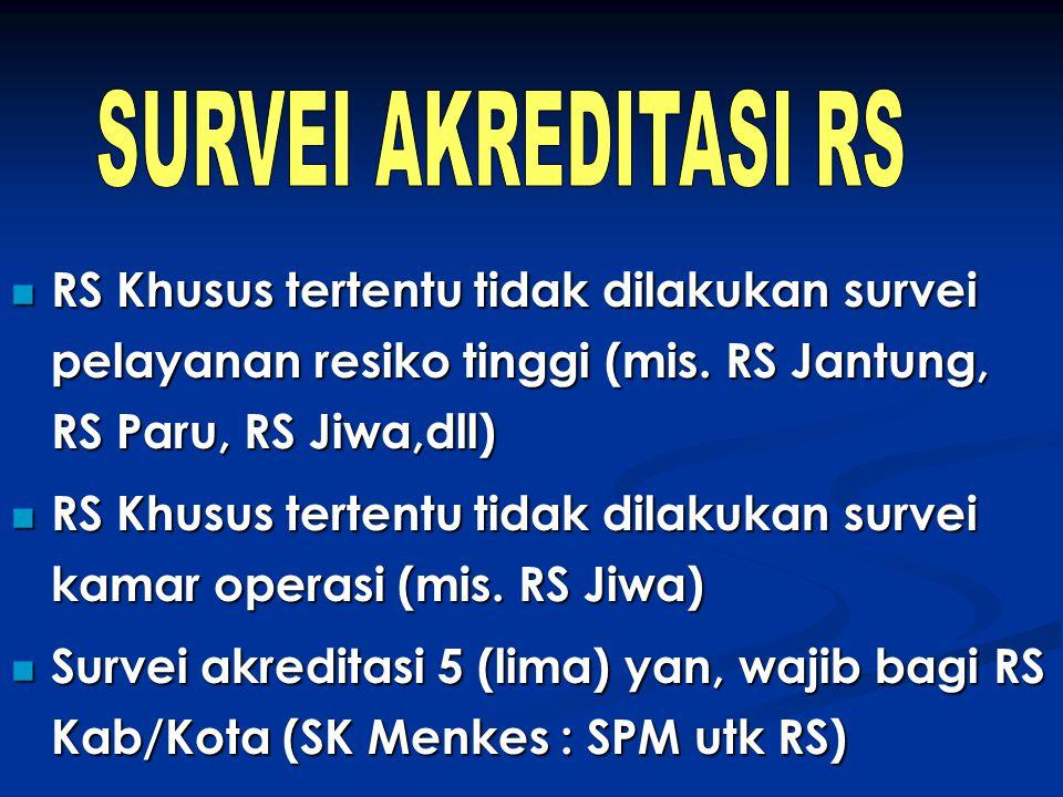SURVEI AKREDITASI RS RS Khusus tertentu tidak dilakukan survei pelayanan resiko tinggi (mis. RS Jantung, RS Paru, RS Jiwa,dll)