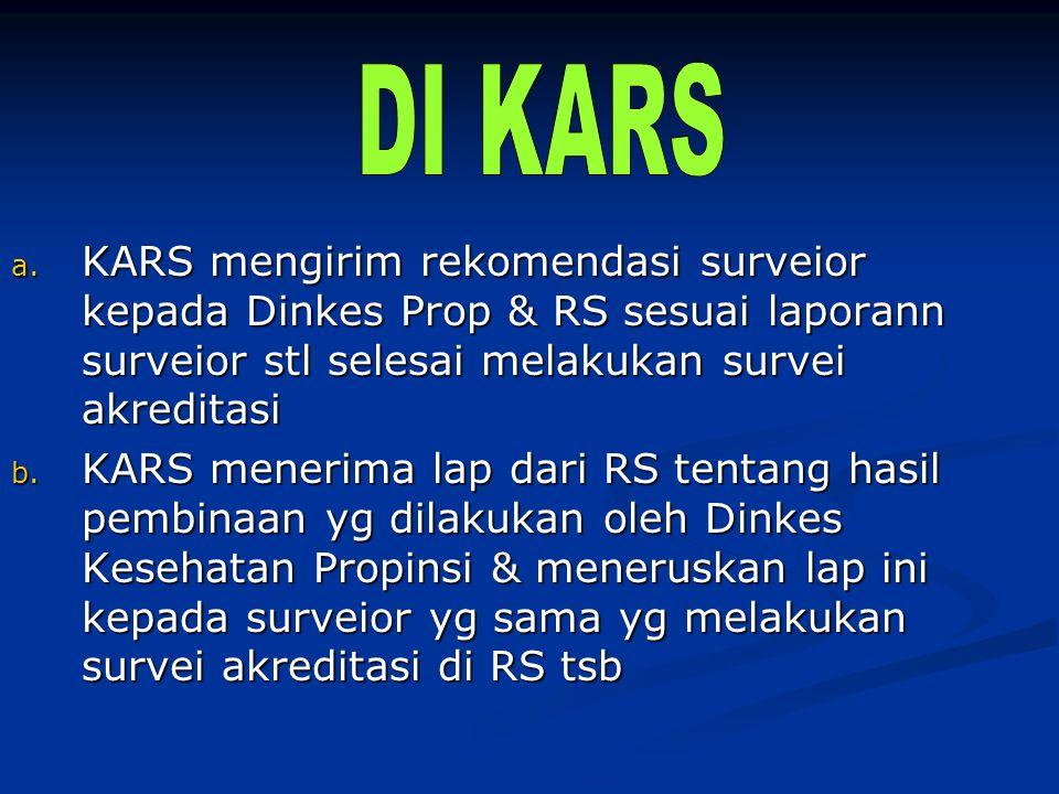 DI KARS KARS mengirim rekomendasi surveior kepada Dinkes Prop & RS sesuai laporann surveior stl selesai melakukan survei akreditasi.