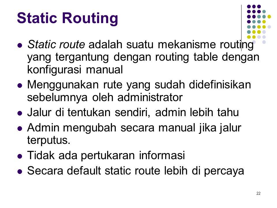 Static Routing Static route adalah suatu mekanisme routing yang tergantung dengan routing table dengan konfigurasi manual.