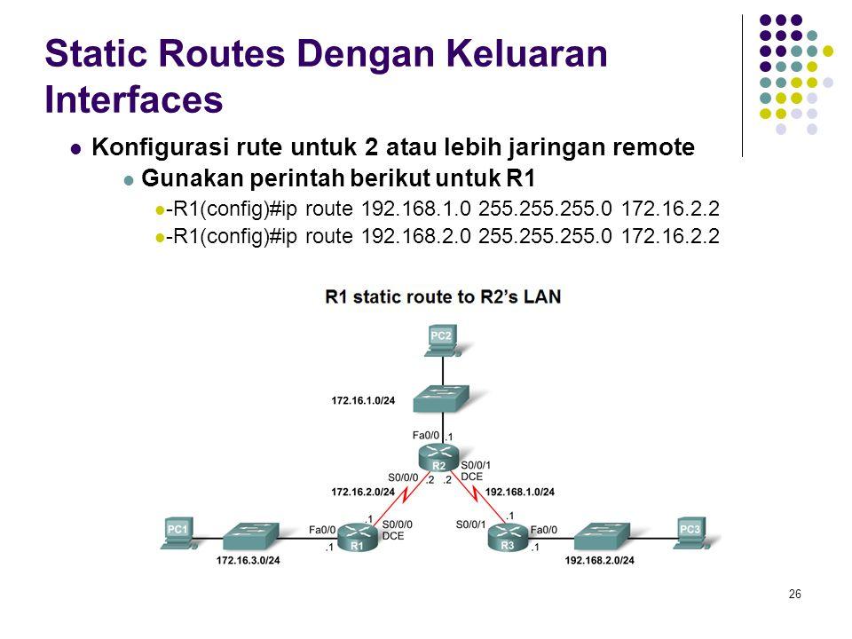 Static Routes Dengan Keluaran Interfaces