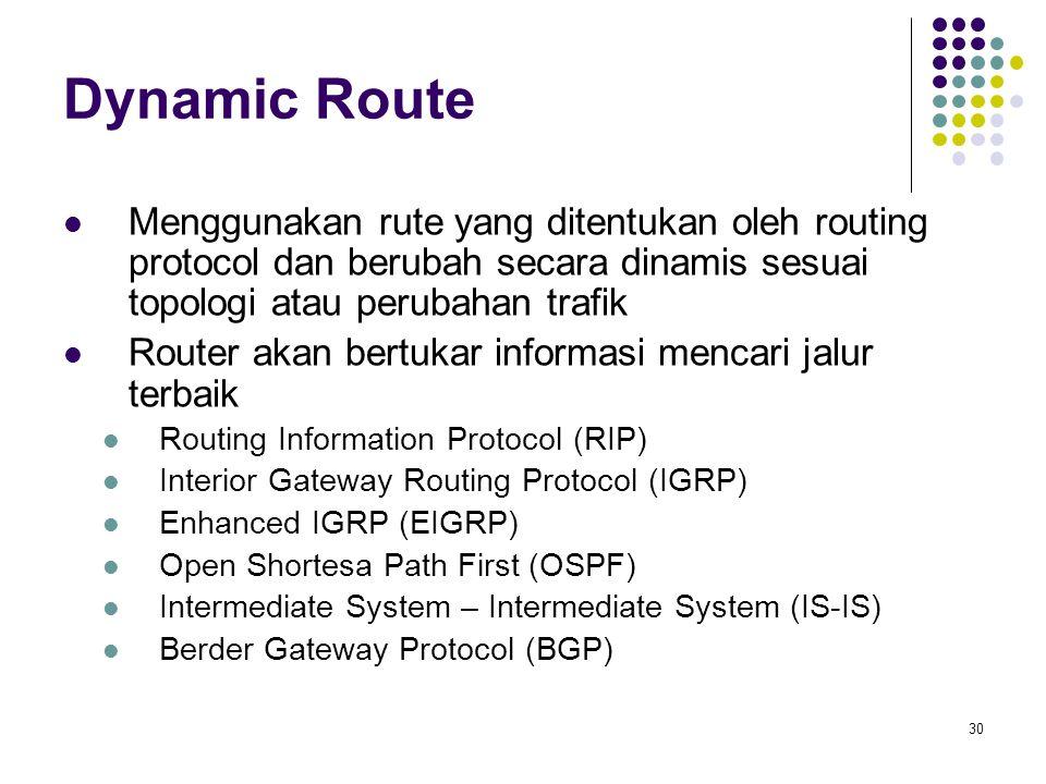Dynamic Route Menggunakan rute yang ditentukan oleh routing protocol dan berubah secara dinamis sesuai topologi atau perubahan trafik.