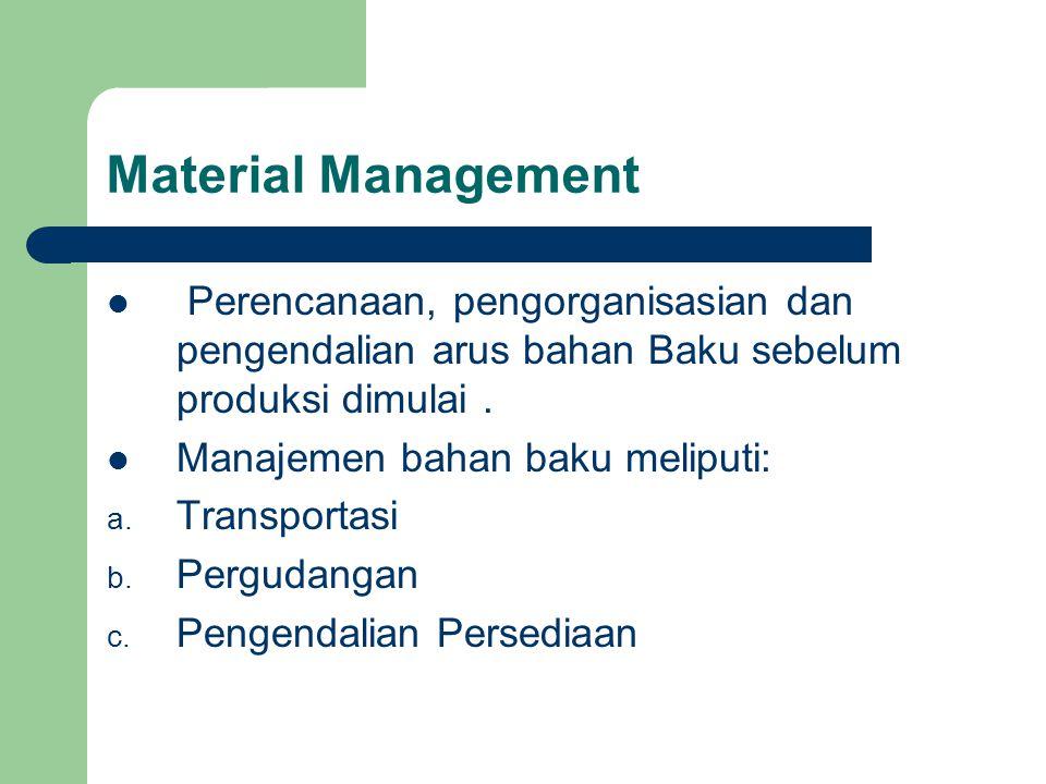 Material Management Perencanaan, pengorganisasian dan pengendalian arus bahan Baku sebelum produksi dimulai .