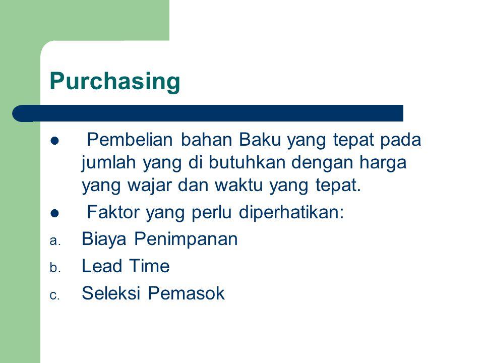 Purchasing Pembelian bahan Baku yang tepat pada jumlah yang di butuhkan dengan harga yang wajar dan waktu yang tepat.