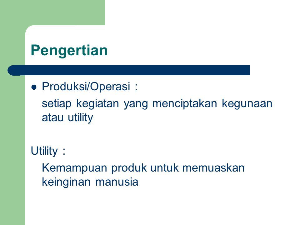 Pengertian Produksi/Operasi :